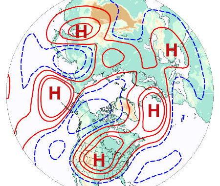 Estructura de número de onda 5 visto desde el polo norte