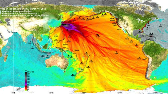 Altura prevista de la tsunami de Tohoku, 2011-03-11