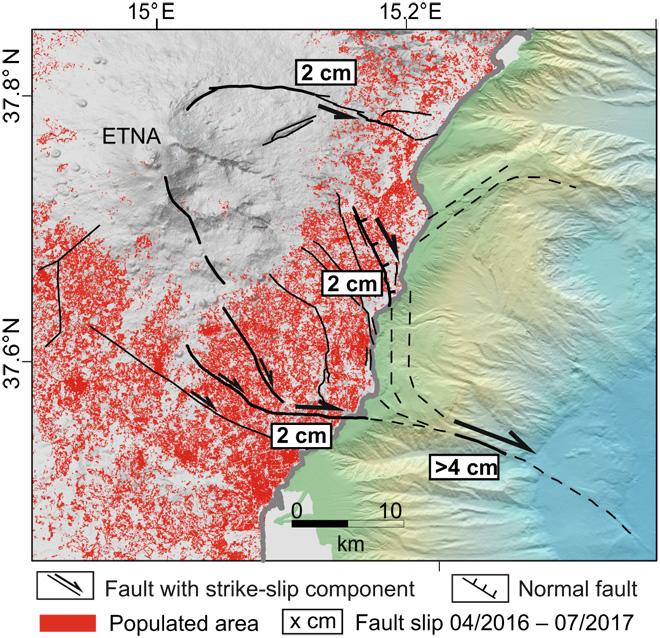 Fig. 4: Representación de deslizamiento de fallas ene le cruce del litoral del movimiento del flanco SE del Etna. Las áreas pobladas se obtienen de una clasificación Landsat-8 en una cuadrícula de 30 m por 30 m (imagen Landsat-8, cortesía del USGS). Las líneas en negrita representan las principales características activas durante el período de observación.